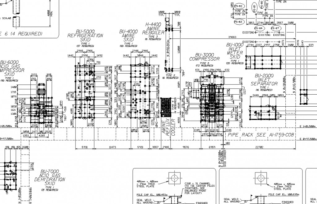 drafting oil and gas engineering facility design